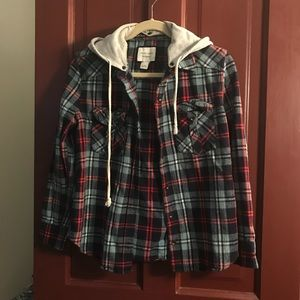 Women's flannel with detachable hoodie